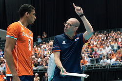11-08-2019 NED: FIVB Tokyo Volleyball Qualification 2019 / Netherlands - USA, Rotterdam<br /> Final match pool B in hall Ahoy between Netherlands vs. United States (1-3) and Olympic ticket  for USA / Fabian Plak #8 of Netherlands, Coach Roberto Piazza of Netherlands