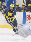 Michigan's    and  chase the puck into the offensive zone during the Wolverines Friday night game against the LSSU Lakers at Taffy Abel Arena in Sault Ste. Marie.