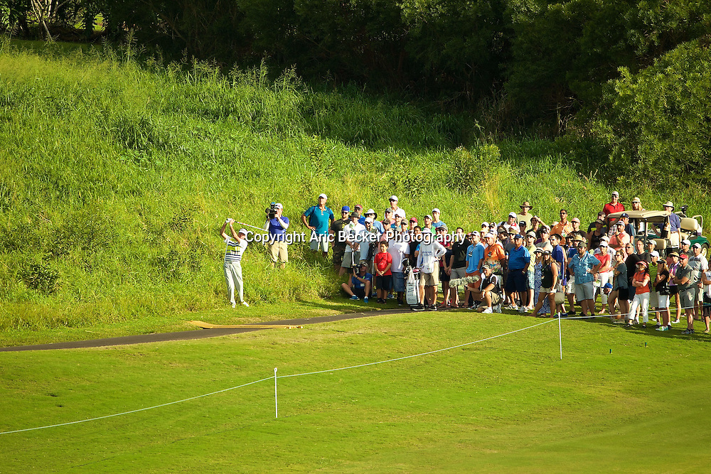 January 09 2015:  Bubba Watson after taking an unplayable lie hit on number eighteen during the First Round of the Hyundai Tournament of Champions at Kapalua Plantation Course on Maui, HI.
