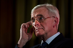 © Licensed to London News Pictures. 09/03/2018. London, UK. Shadow Chancellor John McDonnell delivers a speech outlining Labour's demands for the Chancellor of the Exchequer Philip Hammond's Spring Statement, due next week. Photo credit: Rob Pinney/LNP