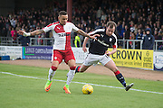 Rangers' James Tavernier and Dundee's Paul McGowan  - Dundee v Rangers in the Ladbrokes Scottish Premiership at Dens Park, Dundee.Photo: David Young<br /> <br />  - © David Young - www.davidyoungphoto.co.uk - email: davidyoungphoto@gmail.com