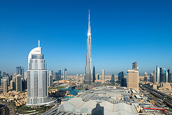 Burj Khalifa , the Dubai Mall and skyline of Downtown Dubai  in United Arab Emirates