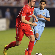 Jack Robinson, Liverpool, in action during the Manchester City Vs Liverpool FC Guinness International Champions Cup match at Yankee Stadium, The Bronx, New York, USA. 30th July 2014. Photo Tim Clayton
