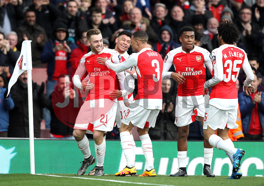 Calum Chambers of Arsenal celebrates his goal with his teammates - Mandatory byline: Robbie Stephenson/JMP - 30/01/2016 - FOOTBALL - Emirates Stadium - London, England - Arsenal v Burnley - FA Cup Forth Round
