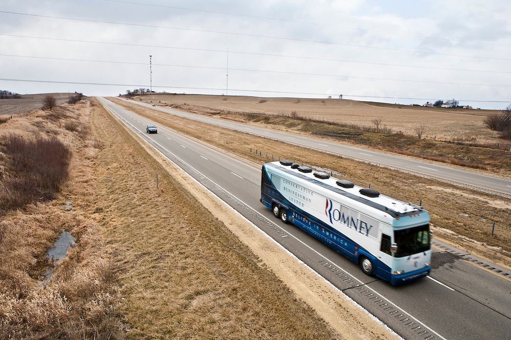 The campaign bus carrying Republican presidential candidate Mitt Romney travels between Davenport and Dubuque on Monday, January 2, 2012 in Long Grove, IA.