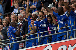 LONDON, ENGLAND - Saturday, May 17, 2008: Portsmouth's captain Sol Campbell celebrates with the trophy after his side beat Cardiff City 1-0 during the FA Cup Final at Wembley Stadium. (Photo by David Rawcliffe/Propaganda)