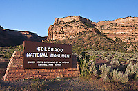 Sign at the west entrance to Colorado National Monument, Colorado.