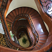 The stairwell in the Hotel Majestic in Ho Chi Minh City, Vietnam. 3rd March 2012. Photo Tim Clayton