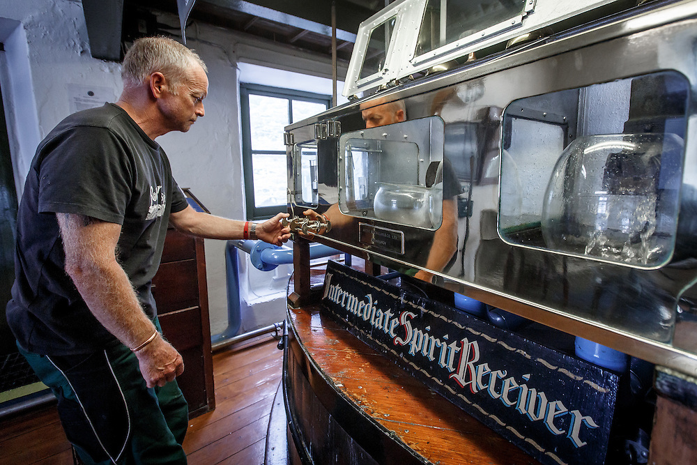 Fresh distillate is analyzed at the Intermediate Spirit Receiver at Ardbeg Distillery in Port Ellen, Isle of Islay, Scotland, July 15, 2015. Gary He/DRAMBOX MEDIA LIBRARY