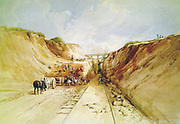 Construction of a Railway Line',  1841. Digging a cutting on the Great Western Railway. Broad gauge line by Isambard Kingdom Brunel (1806-1859) appointed engineer to the GWR in 1833. Artist: George Childes.