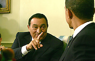 President Barack Obama meets with Egyptian President Hosni Mubarak in the Oval Office on August 18, 2009.  photo by Dennis Brack