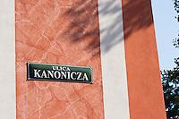 Ulica Kanonicza street sign in Krakow Poland