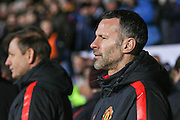 Ryan Giggs during the The FA Cup match between Cambridge United and Manchester United at the R Costings Abbey Stadium, Cambridge, England on 23 January 2015. Photo by Phil Duncan.