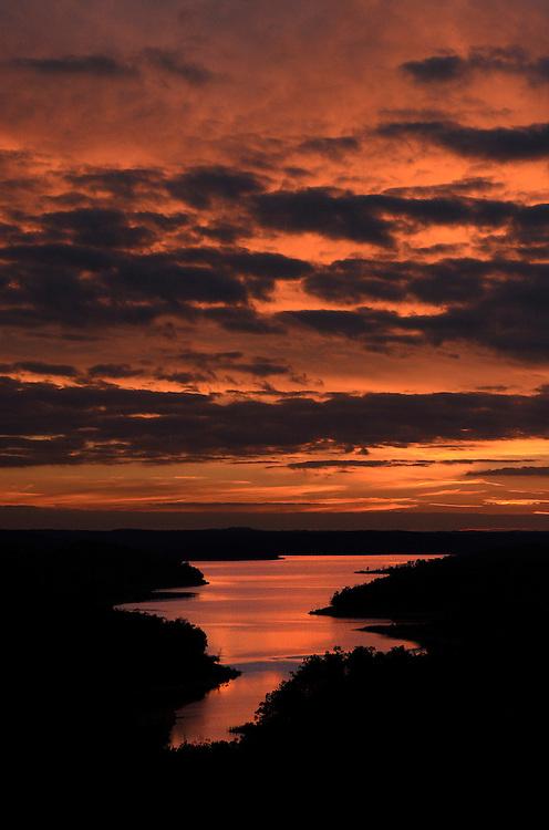 Sunset over Norfork Lake in Baxter County, Ark.