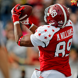 Jan 26, 2013; Mobile, AL, USA; Senior Bowl south squad tight end Michael Williams of Alabama (89) catches a touchdown against the Senior Bowl north squad during the first half of the Senior Bowl at Ladd-Peebles Stadium. Mandatory Credit: Derick E. Hingle-USA TODAY Sports
