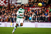 Celtic FC Defender Efe Ambrose passes the ball back during the Ladbrokes Scottish Premiership match between Heart of Midlothian and Celtic at Tynecastle Stadium, Gorgie, Scotland on 27 December 2015. Photo by Craig McAllister.