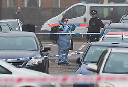 © Licensed to London News Pictures. 23/02/2019. London, UK.  The crime scene at Vincent Road, Wood Green in Haringey this morning. Police were called to Vincent Road last night to reports of a group of people fighting, where two men believed to be aged 19 and 20 were found with stab injuries. The injured men were taken to hospital and the 19 year old who was also found to have suffered gun shot wounds was pronounced dead shortly after 3am.  Photo credit: Vickie Flores/LNP