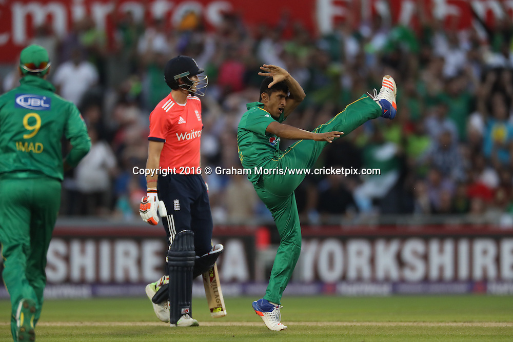 Hasan Ali of Pakistan celebrates the wicket of Joe Root.<br /> England v Pakistan, only T20 at Manchester, England. 7 September 2016.<br /> Pakistan won by 9 wickets (with 31 balls remaining).<br /> Copyright photo: Graham Morris / www.photosport.nz