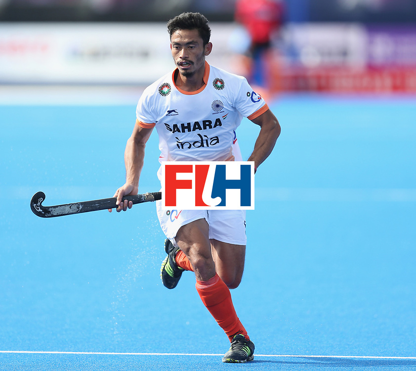 LONDON, ENGLAND - JUNE 16:  Kothajit Khadangbam of India during the FIH Mens Hero Hockey Champions Trophy match between Australia and India at Queen Elizabeth Olympic Park on June 16, 2016 in London, England.  (Photo by Alex Morton/Getty Images)