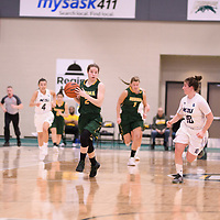 3rd year guard Michaela Kleisinger (2) of the Regina Cougars during the Women's Basketball home game on January 6 at Centre for Kinesiology, Health and Sport. Credit: Arthur Ward/Arthur Images