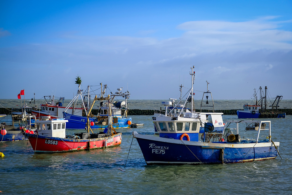 Fishing boats moored during high tide in Folkestone Harbour, Kent, UK.  (photo by Andrew Aitchison / In pictures via Getty Images)