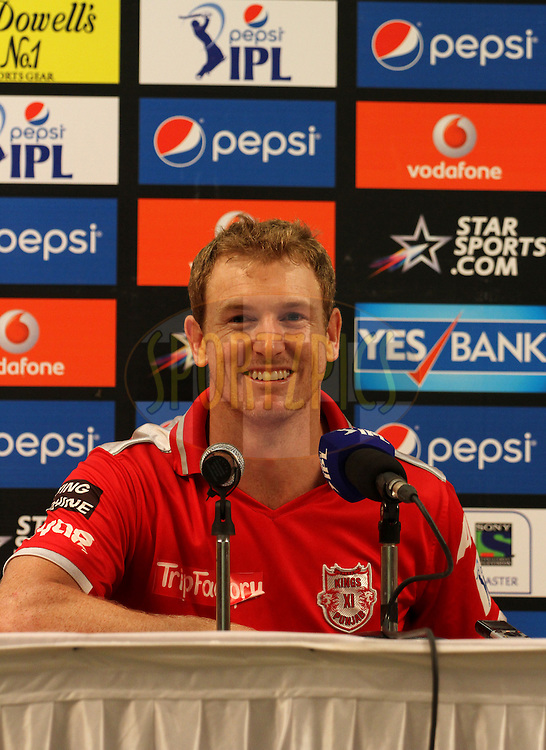 George Bailey of the Kings X1 Punjab during press conference of  match 22 of the Pepsi Indian Premier League Season 2014 between the Mumbai Indians and the Kings XI Punjab held at the Wankhede Cricket Stadium, Mumbai, India on the 3rd May  2014<br /> <br /> Photo by Vipin Pawar / IPL / SPORTZPICS<br /> <br /> <br /> <br /> Image use subject to terms and conditions which can be found here:  http://sportzpics.photoshelter.com/gallery/Pepsi-IPL-Image-terms-and-conditions/G00004VW1IVJ.gB0/C0000TScjhBM6ikg