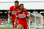 Middlesbrough defender Cyrus Christie (22) celebrates his goal (score 1-1)  during the EFL Sky Bet Championship match between Fulham and Middlesbrough at Craven Cottage, London, England on 23 September 2017. Photo by Andy Walter.