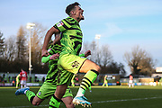 Forest Green Rovers Josh March(28) scores a goal 1-1 and celebrates during the EFL Sky Bet League 2 match between Forest Green Rovers and Salford City at the New Lawn, Forest Green, United Kingdom on 18 January 2020.