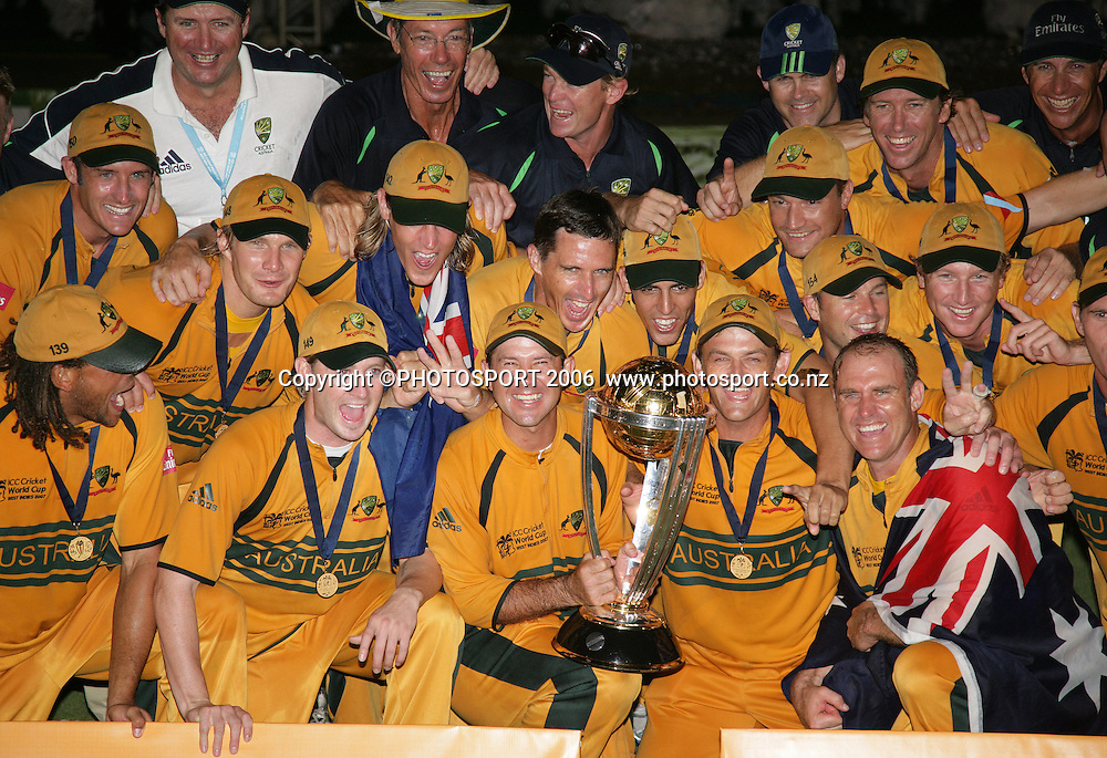 The Australian team celebrate during the presentation at the conclusion of the 2007 ICC Cricket World Cup Final between Australia and Sri Lanka at Kensington Oval, Barbados, West Indies on Saturday 28 April 2007. Australia won the toss and elected to bat first and won the match by 53 runs. Photo: Andrew Cornaga/PHOTOSPORT<br /><br /><br />280407
