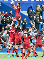 Rugby Union - 2018 / 2019 European Rugby Champions Cup - Pool Three: Cardiff Blues vs. Lyon<br /> <br /> Dylan Cretin, of Lyon leaps to catch the ball at a lineout, at Cardiff Arms Park.<br /> <br /> COLORSPORT/WINSTON BYNORTH