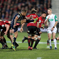 Aaron Smith kicks during the Super Rugby match between the Crusaders and Highlanders at Wyatt Crockett Stadium in Christchurch, New Zealand on Friday, 06 July 2018. Photo: Martin Hunter / lintottphoto.co.nz