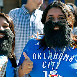Jun 12, 2012; Oklahoma City, OK, USA;  Oklahoma City Thunder fans Fatima Shakra (left) and Julia Torres (right) outside prior game one in the 2012 NBA Finals against the Miami Heat at the Chesapeake Energy Arena.  Mandatory Credit: Derick E. Hingle-US PRESSWIRE