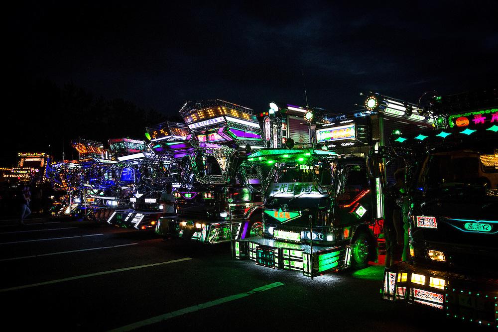 KANAZAWA, JAPAN - JULY 17 : Hundreds of 'Dekotora', decoration trucks and its fans gather during a charity event at Minami Fukurobatake machi parking lot on July 17, 2016 in Ishikawa prefecture, Kanazawa, Japan.  Photo: Richard Atrero de Guzman