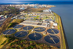 Aerial view of Scottish Water Seafield Wastewater Treatment Works, Edinburgh , Scotland ,UK