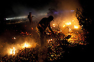 Neighbor and volunteer firefighters work on a forest fire near El Cubillo de Uceda, on August 11, 2012 in Guadalajara, Spain. During a heat wave dozens of forest fires have appeared in Spain, three of them at National Parks, like Teide, Doñana or Cabañeros, and thousands of people had to be evacuated at La Gomera and Tenerife, in the Canary Islands.