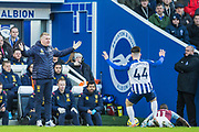 Dean Smith, Head Coach of Aston Villa FC & Aaron Connolly (Brighton) raise their arms during the Premier League match between Brighton and Hove Albion and Aston Villa at the American Express Community Stadium, Brighton and Hove, England on 18 January 2020.