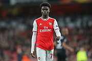 Arsenal midfielder Bukayo Saka (77) during the Europa League match between Arsenal and Eintracht Frankfurt at the Emirates Stadium, London, England on 28 November 2019.