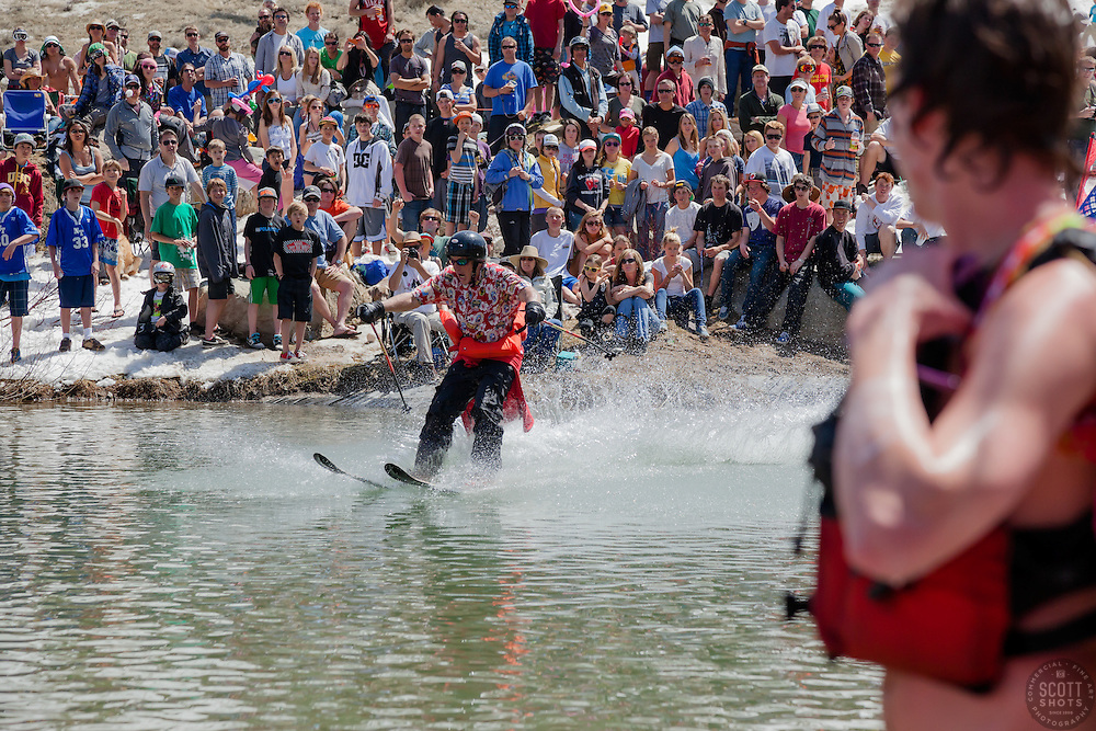 """""""Cushing Classic at Squaw Valley 21"""" - Photograph of a skier crossing a pond during the Cushing Classic at Squaw Valley, USA."""