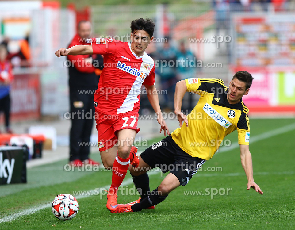 12.04.2015, Alte Foersterei, Berlin, GER, 2. FBL, 1. FC Union Berlin vs VfR Aalen, 28. Runde, im Bild Eroll Zejnullahu (#27, 1. FC Union Berlin), Andreas Hofmann (#23, VfR Aalen) // SPO during the 2nd German Bundesliga 28th round match between 1. FC Union Berlin and VfR Aalen at the Alte Foersterei in Berlin, Germany on 2015/04/12. EXPA Pictures &copy; 2015, PhotoCredit: EXPA/ Eibner-Pressefoto/ Hundt<br /> <br /> *****ATTENTION - OUT of GER*****