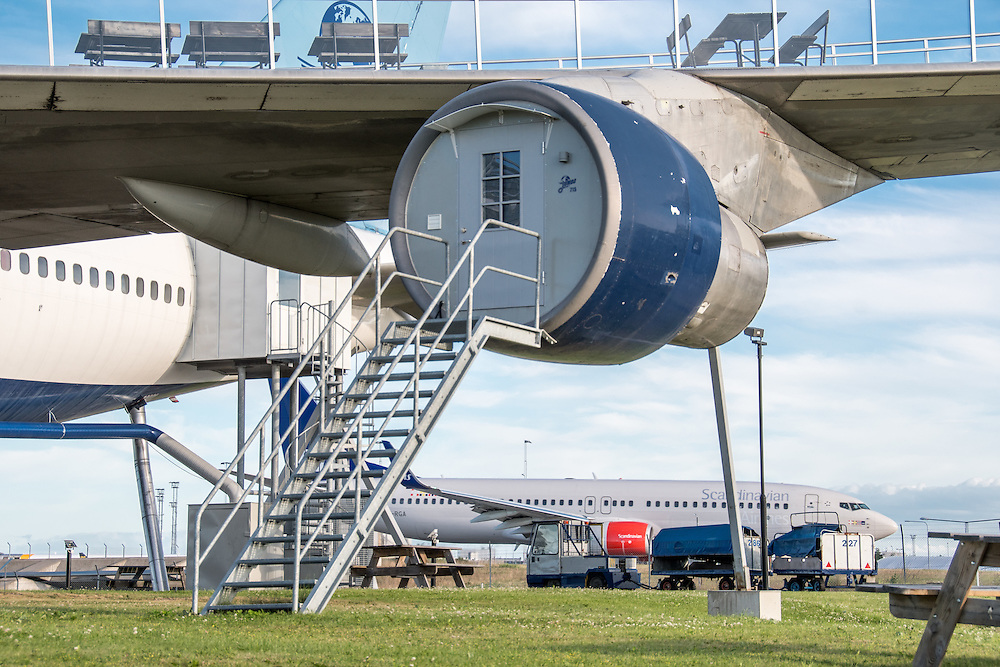 Stockholm, Arlanda, Sweden - The Jumbo Stay (Jumbohostel), a hostel that is a converted Boeing 747 airliner. It is located at the entrance of the Stockholm Arlanda Airport.
