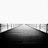 Saltburn Victorian pier with railings, England