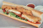 Breaded chicken breast baguette sandwich