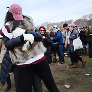 Harvard fans tailgating before the Harvard Vs Yale, College Football, Ivy League deciding game, Harvard Stadium, Boston, Massachusetts, USA. 22nd November 2014. Photo Tim Clayton