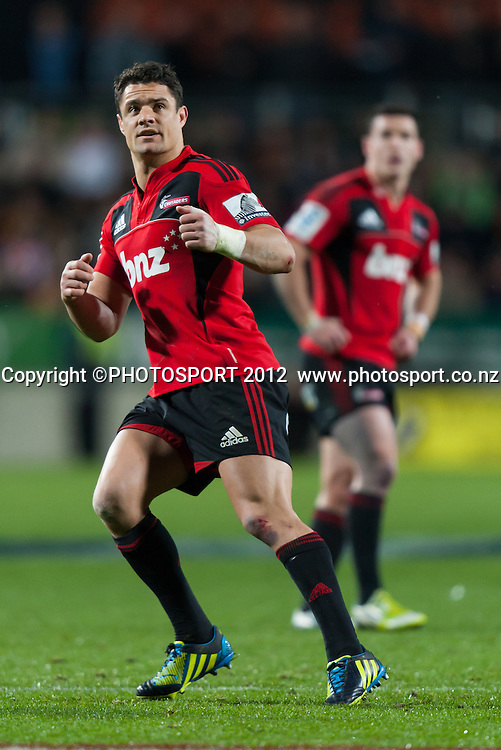 Crusaders' Dan Carter kicks a penalty during the Super Rugby Semi Final won by the Chiefs (20-17) against the Crusaders at Waikato Stadium, Hamilton, New Zealand, Friday 27 July 2012. Photo: Stephen Barker/Photosport.co.nz