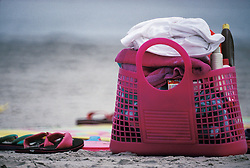 Beach bag with days supply for sun and fun.  Towels, blanket, suntan lotion and sandals.