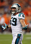 Carolina Panthers middle linebacker Luke Kuechly (59) waves his arms as he complains about a penalty called by officials during the 2016 NFL week 1 regular season football game against the Denver Broncos on Thursday, Sept. 8, 2016 in Denver. The Broncos won the game 21-20. (©Paul Anthony Spinelli)