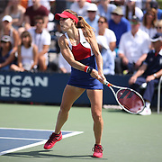 2017 U.S. Open - August 28. DAY ONE. Alize Cornet of France in action against Heather Watson of Great Britain on court four during the Women's Singles round one match at the US Open Tennis Tournament at the USTA Billie Jean King National Tennis Center on August 28, 2017 in Flushing, Queens, New York City. (Photo by Tim Clayton/Corbis via Getty Images)