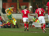 Photo: Aidan Ellis.<br /> Barnsley v Norwich City. Coca Cola Championship. 03/03/2007.<br /> Norwich's Chris Martin heads in the third goal
