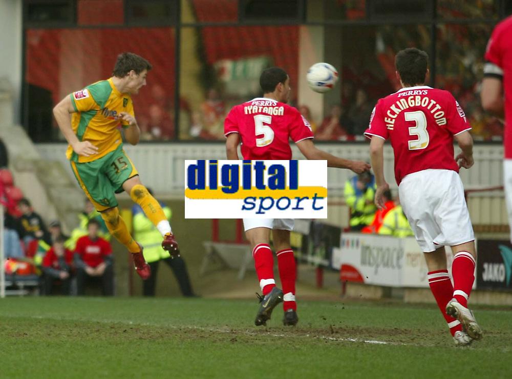 Photo: Aidan Ellis.<br /> Barnsley v Norwich City. Coca Cola Championship. 03/03/2007.<br /> Norwich's Chris Martin heads in the third goal