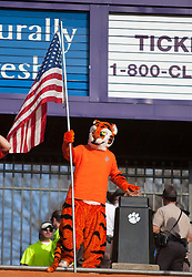 November 21, 2009; Clemson, SC, USA;  The Clemson Tigers mascot at Howard's Rock before the game against the Virginia Cavaliers  at Memorial Stadium.  Clemson defeated Virginia 34-21.